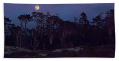 Pebble Beach Moonrise Hand Towel by Derek Dean