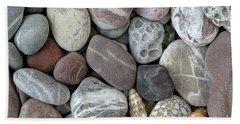 Pebbles In Earth Colors - Stone Pattern Bath Towel by Michal Boubin