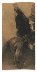 Pegasus And Bellerophon Hand Towel by Odilon Redon