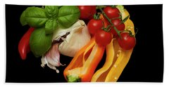 Bath Towel featuring the photograph Peppers Basil Tomatoes Garlic by David French