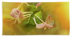 Phengaris Teleius Butterfly On Honeysuckle Flowers Hand Towel