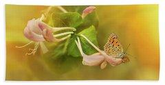 Phengaris Teleius Butterfly On Honeysuckle Flowers Bath Towel by Jaroslaw Blaminsky