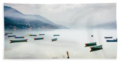 Phewa Lake In Pokhara, Nepal Bath Towel