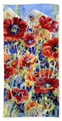Picket Fence Poppies Hand Towel