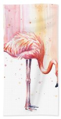 Pink Flamingo - Facing Right Bath Towel