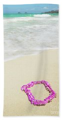 Pink Lei On Beach - Hipster Photo Square Bath Towel