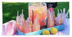 Pink Lemonade At Picnic In Park Bath Towel