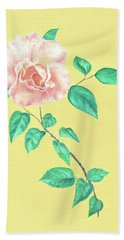 Bath Towel featuring the painting Pink Rose by Elizabeth Lock