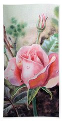 Pink Rose With Dew Drops Hand Towel