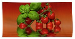 Bath Towel featuring the photograph Plum Cherry Tomatoes Basil by David French