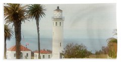 Point Vincente Lighthouse, California In Retro Style Bath Towel