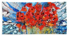 Bath Towel featuring the painting Poppies by Evelina Popilian
