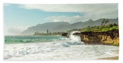 Pounders Beach 1 Hand Towel by Leigh Anne Meeks