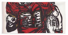 Bath Towel featuring the drawing Priest Holmes 2 by Jeremiah Colley