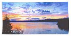 Puget Sound Sunset Hand Towel by Sean Griffin