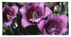 Purple Flowers Two  Bath Towel by Lyle Crump