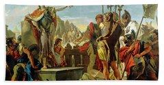 Queen Zenobia Addressing Her Soldiers Hand Towel
