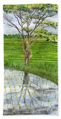 Bath Towel featuring the painting Rain Tree On The Way To Ubud Bali Indonesia by Melly Terpening
