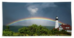 Rainbow At Portland Headlight Hand Towel