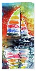 Rainbow Sailboat At Sunset Hand Towel by Kovacs Anna Brigitta