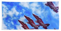 Red Arrows Bath Towel by Roger Lighterness