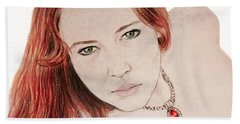 Red Hair And Freckled Beauty Bath Towel by Jim Fitzpatrick