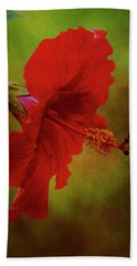 Red Hibiscus Art Hand Towel