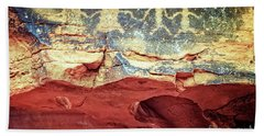 Red Rock Canyon Petroglyphs Hand Towel by Jim And Emily Bush