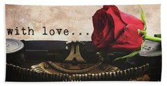 Red Rose On Typewriter Bath Towel by Anastasy Yarmolovich