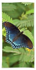 Hand Towel featuring the photograph Red Spotted Purple Butterfly by Sandy Keeton