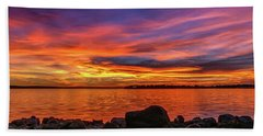 Red Sunset Hand Towel by Doug Long
