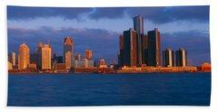 Renaissance Center, Detroit, Sunrise Bath Towel