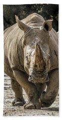 Rhino Walking Toward You Bath Towel