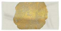 Rings Of A Tree Trunk Cross-section In Gold On Linen  Bath Towel by Serge Averbukh