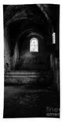Hand Towel featuring the photograph Rioseco Abandoned Abbey Nave Bw by RicardMN Photography