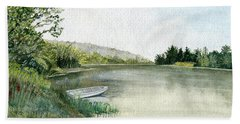 Bath Towel featuring the painting River Light by Melly Terpening