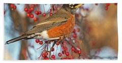Hand Towel featuring the photograph Robin.. by Nina Stavlund
