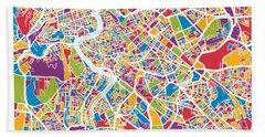 Rome Italy Street Map Hand Towel