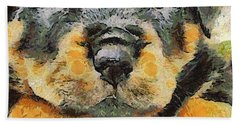 Rottweiler Puppy Portrait Hand Towel by Tracey Harrington-Simpson
