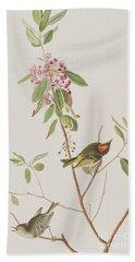 Ruby Crowned Wren Hand Towel by John James Audubon