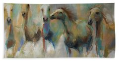Running With The Palominos Hand Towel by Frances Marino