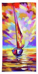 Sailbout Sunset Hand Towel by Tim Gilliland