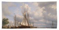Sailing Ships In The Harbor Bath Towel by Anthonie Waldorp