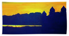 Hand Towel featuring the painting Saltair Sunset by Jane Autry