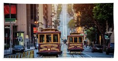 San Francisco Cable Cars Bath Towel by JR Photography