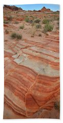 Hand Towel featuring the photograph Sandstone Stripes In Valley Of Fire by Ray Mathis