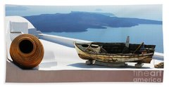 Santorini Greece Hand Towel by Bob Christopher