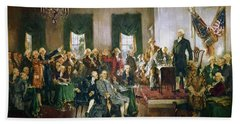Scene At The Signing Of The Constitution Hand Towel