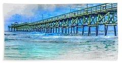 Sea Blue - Cherry Grove Pier Hand Towel