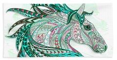 Sea Green Ethnic Horse Hand Towel